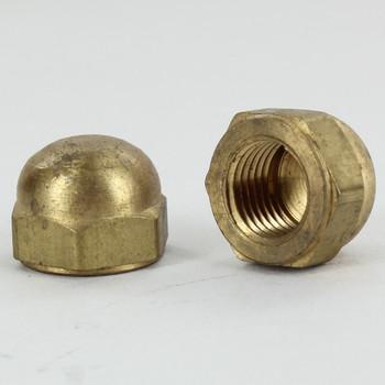 1/4ips -  Hex Nut Acorn Finial - Unfinished Brass