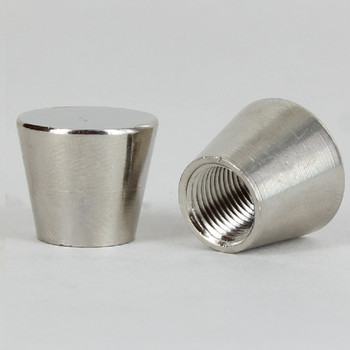 1/8ips - 3/4in x 5/8in Tapered Flat Top Cylinder Cap Finial - Polished Nickel