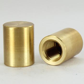 1/4ips - 3/4in X 1in Brass Flat Finial Cap - Unfinished Brass