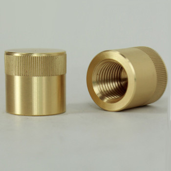 1/4ips - 3/4in x 3/4in Knurled Cylinder Cap - Unfinished Brass