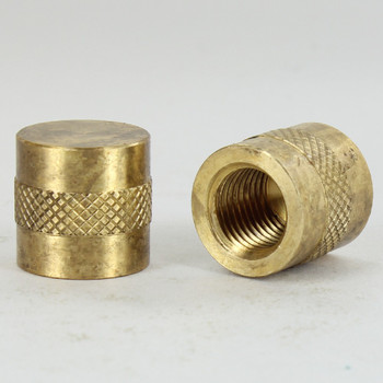 1/4ips - 3/4in W x 3/4in - Knurled Cylinder Finial - Unfinished Brass