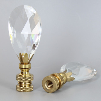 1/4-27 UNS - Crystal Pear Drop Final - Unfinished Brass