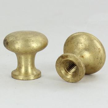 1/4-27 UNS - Mushroom Knob Finial - Unfinished Brass