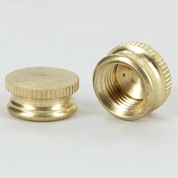 1/8ips - 1/2in W x 1/4in Knurled Cap Finial - Unfinished Brass