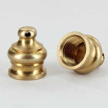 1/8ips - 1/2in x 5/8in Pyramid Finial with Side Hole - Unfinished Brass