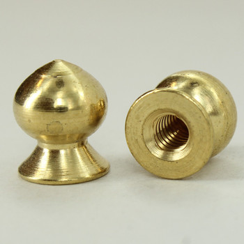 8/32 UNC - 3/8in x 7/16in Pear Knob Finial - Polished Brass