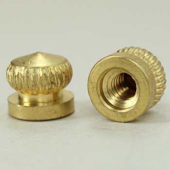 8/32 UNC - 5/16in x 5/16in Knurled Acorn - Unfinished Brass