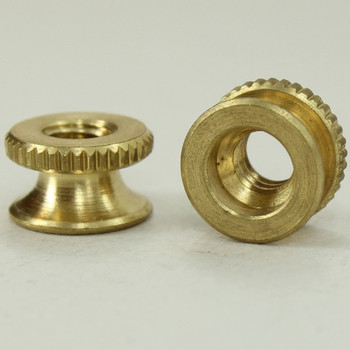 8/32 UNC - 3/8in x 3/16in Knurled Battery Nut - Unfinished Brass