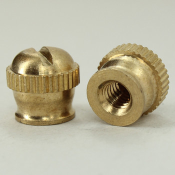 8/32 UNC - 5/16in x 3/8in Knurled Knob - Unfinished Brass