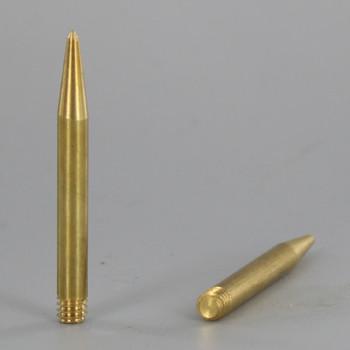 8/32 UNC Male - 1/8in X 1-1/2in Spike Finial - Unfinished Brass