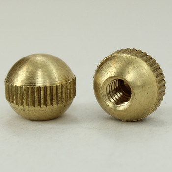 8/32 UNC - 3/8in x 3/8in Knurled Ball - Unfinished Brass
