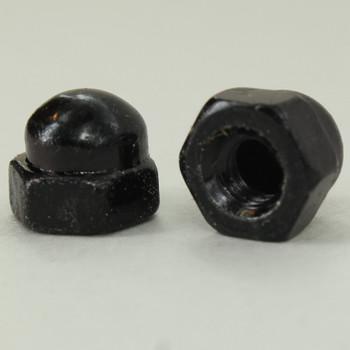 8/32 UNC - 3/8in x 1/4in Cap Hex Nut Finial - Black Powdercoat