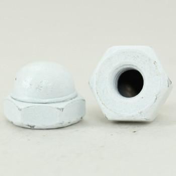 8/32 UNC - 3/8in x 1/4in Hex Nut Finial - White Powdercoat