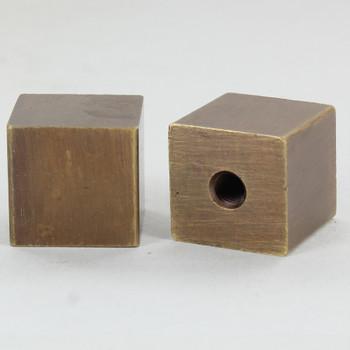 1/4-27 Female Threaded 7/8in Diameter Square Finial - Antique Brass Finish