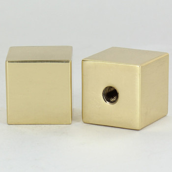 1/4-27 Female Threaded 7/8in Diameter Square Finial - Polished Brass Finish