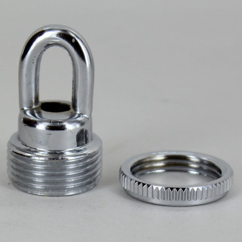 1/4ips - Female Threaded - Screw Collar Loop with Ring and Wire Way - Chrome Plated Finish
