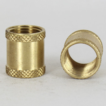 3/8ips - 3/4in W X 7/8in H Knurled Coupling - Unfinished Brass