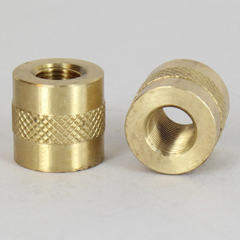 1/8ips - 3/4in X 3/4in Knurled Coupling - Unfinished Brass