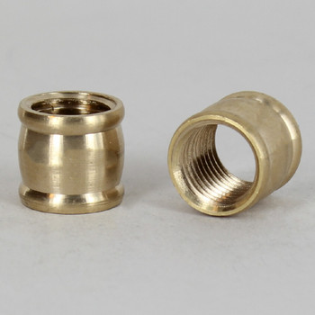 5/8in W X 9/16in H - 1/4ips. X 1/4ips. Female Threaded Unfinished Brass Barrel Coupling