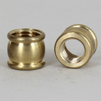 9/16in W X 9/16in H - 1/8ips. X 1/4ips. Female Threaded Unfinished Brass Barrel Coupling