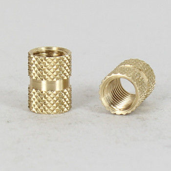 1/4-27 X 1/4-27 FEMALE Threaded Unfinished Brass Knurled Coupling