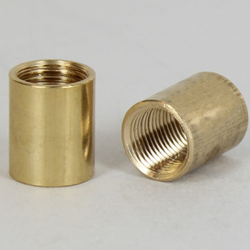 1/2in W x 9/16in H - 1/8IPS. X 1/8IPS. Female Threaded Unfinished Brass Straight Coupling