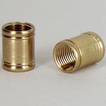 7/16in W X 1/2in H - 1/8IPS. X 1/8IPS. Female Threaded Unfinished Brass 2 Bead Coupling