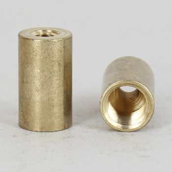 1/2in W x 7/8in H - 1/4-20 UNC X 1/8ips. Thread Unfinished Brass Straight Coupling