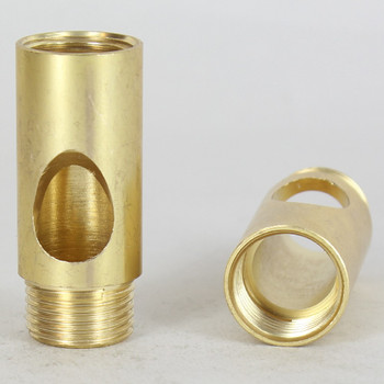 3/8ips - 3/4in W X 1-13/16in H Coupling with Wire Exit - Unfinished Brass