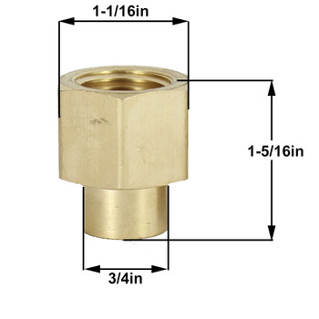1/2 NPT X 1/4 IPS UNFINISHED BRASS HEX COUPLING