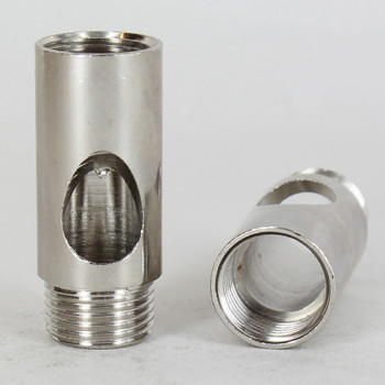 3/8ips - 3/4in W x 1-13/16in H Coupling with Wire Exit - Polished Nickel