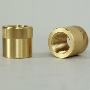 1/4ips - 3/4in X 3/4in - Knurled Coupling - Unfinished Brass