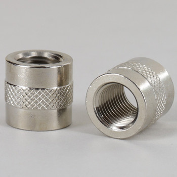 1/4ips - 3/4in X 3/4in Knurled Coupling - Nickel Plated