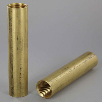 3/8ips - 3/4in W x 3in H - Straight Coupling - Unfinished Brass