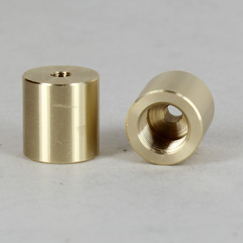 5/8in W  X 5/8in H - 1/8IPS. X 8/32 UNC. Female Threaded Unfinished Brass Straight Coupling