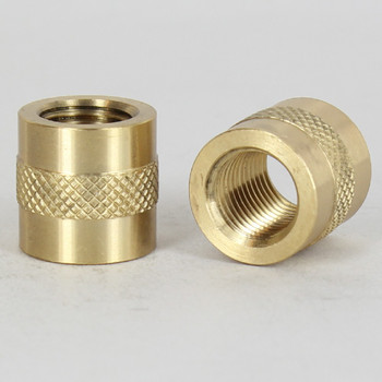 1/4ips - 3/4in X 3/4in Knurled Coupling - Unfinished Brass