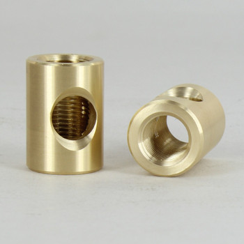 5/8 in. W x 7/8 in. H - 1/8IPS Female Threaded Neck with Side Wire Outlet - Unfinished Brass