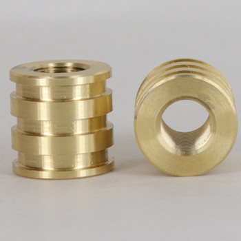 1/8ips - 3/4in X 3/4in Decorative Coupling - Unfinished Brass
