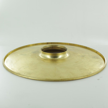 8in. Unfinished Brass Flat Shade with Rolled Edge and 2-1/4in. Neck