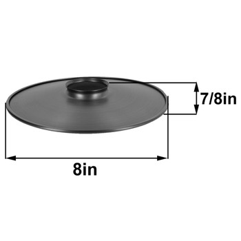 8in. Unfinished Steel Flat Shade with Rolled Edge and 2-1/4in. Neck