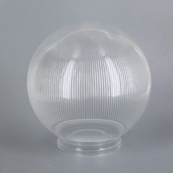 6in Diameter X 3-1/4in Fitter Acrylic Ball - Clear Prismatic