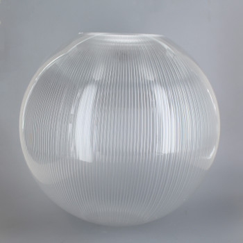 12in Diameter Clear Prismatic Acrylic Neckless Egg Shaped Ball with 5-1/4in Diameter Hole