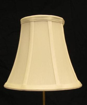 7in. Off White Stretch Shantung Bell Lamp Shade with Vertical Piping
