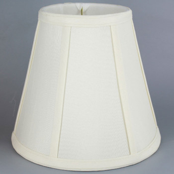 7in. Egg Shell Stretch Shantung Bell Uno Thread Bridge Lamp Shade with Vertical Piping