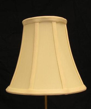13-1/2in. Egg Shell Stretch Shantung Bell Lamp Shade with Vertical Piping