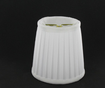 4in. Pleated Candelabra Bulb Clip On Lamp Shade - White