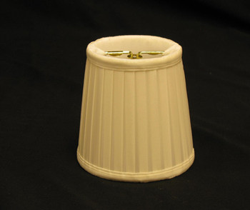 4in. Pleated Candelabra Bulb Clip On Lamp Shade - Egg Shell