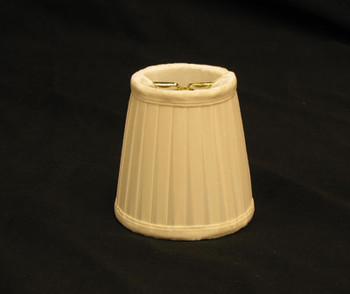 3-1/2in. Egg Shell Pleated Candelabra Bulb Clip On Lamp Shade