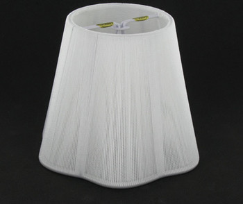 4in. Off White String with Paper Lining Scallop Shape Candelabra Bulb Clip On Lamp Shade