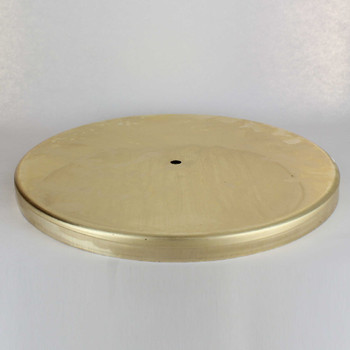 1/8ips Center Hole - 12-3/4in Flat Canopy/Base Without Wire Way - Unfinished Brass